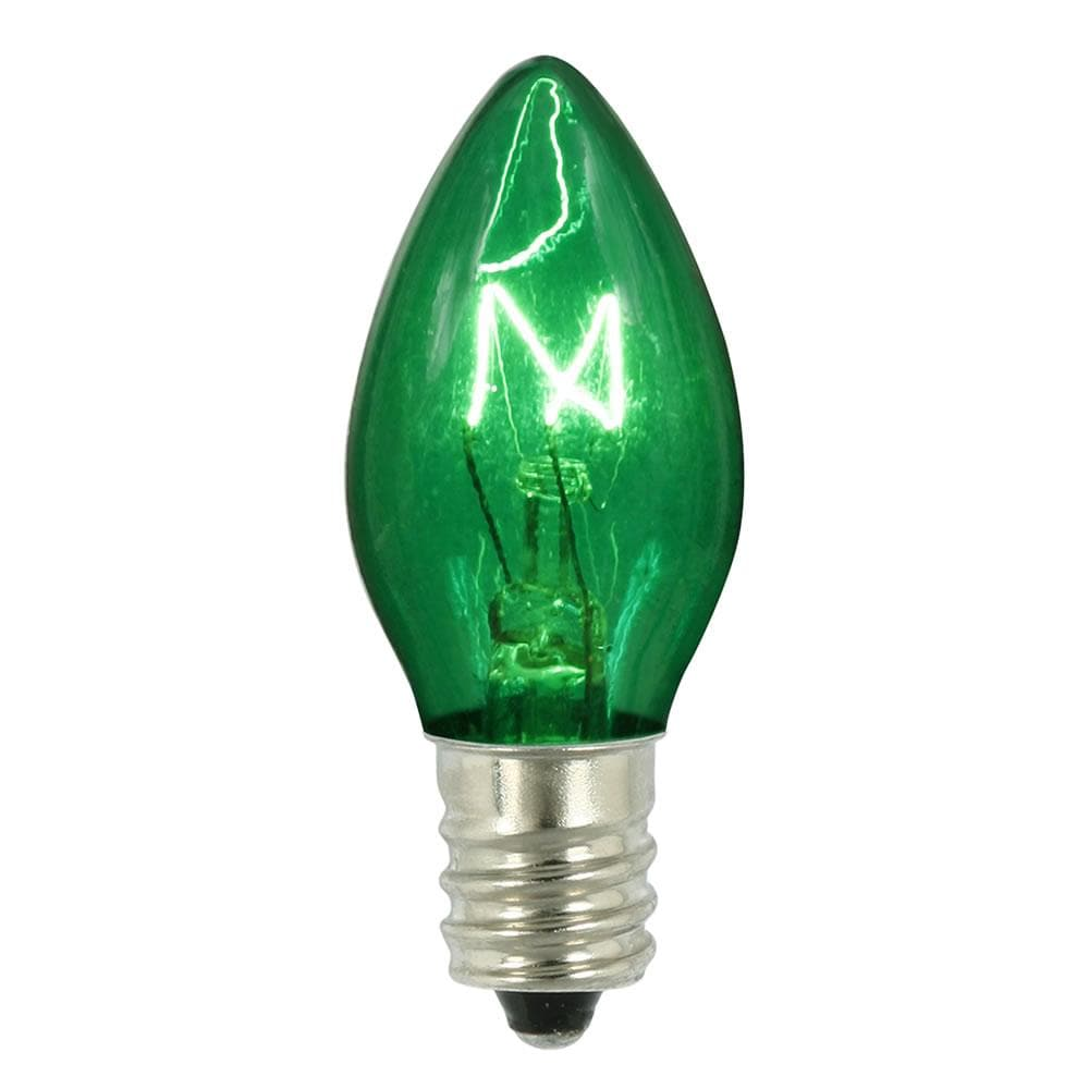 Vickerman C7 Transparent Green Twinkle 120V 5W Bulbs