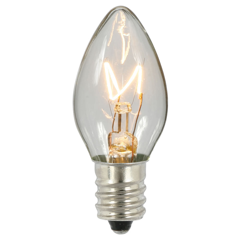 100PK - Vickerman C7 Transparent Clear 130V 5W Bulbs