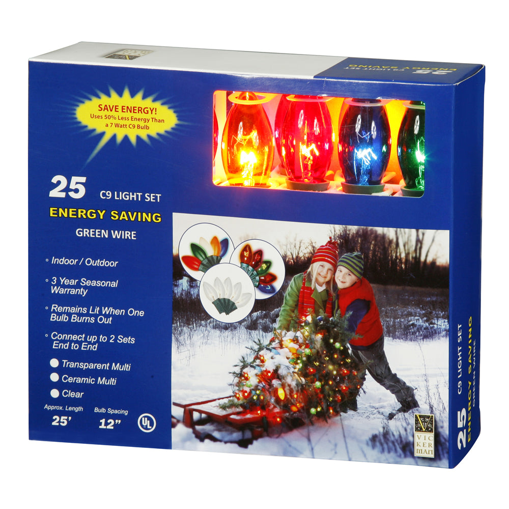 25 Transparent Multi Color C9 Lights 25Ft. Christmas Set