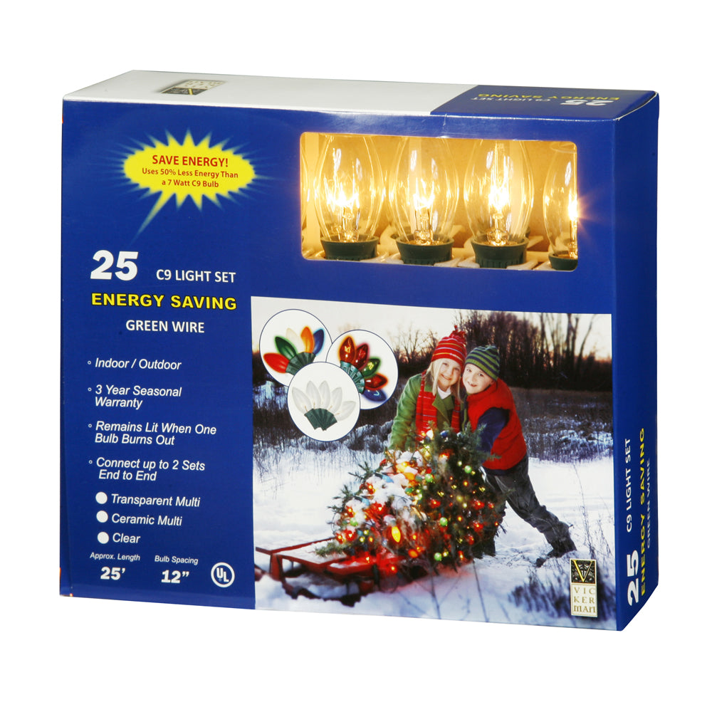 25 Clear C9 Lights 25Ft. Christmas Set