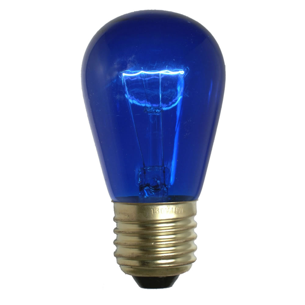 20PK - Vickerman Blue Transparent Med Base 130V 11 Watt Bulbs