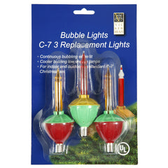 3 Pack - 3 Bulbs C7 Multi Color Bubble 5 watt Replacement Light Bulbs Christmas Set