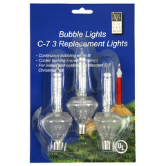 3 Pack - 3 Bulbs 5 watt C7 Clear Glitter Bubble Replacement Light Bulb Christmas Set