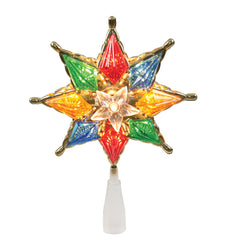 10Lt Multi 8-Pt Star Two Sided Tree Top