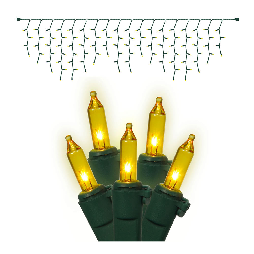 100 Gold Icicle Lights Green Wire 9Ft. Christmas Set