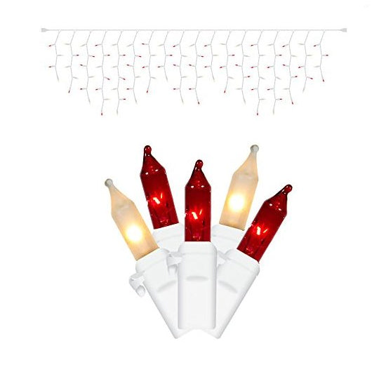 2 Pack - 100 Red / Frosted White Icicle Lights / White Wire Christmas 9Ft. Light Set