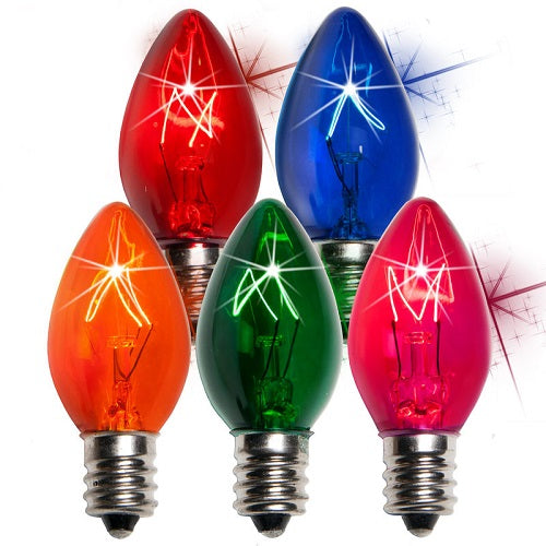 25 Bulbs - C7 Triple Dipped Transparent Twinkle Multicolor, 7 Watt lamp