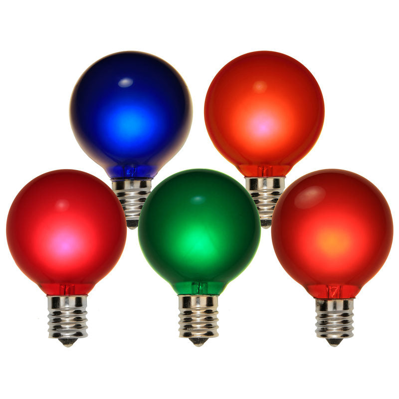 25PK-  7W 120V G50 Multicolor Satin E17 Intermediate Base Globe Lights