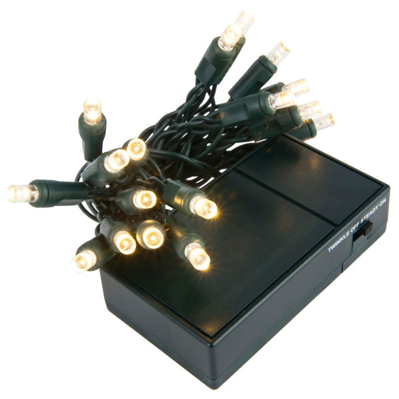 20 Cool White 5mm LED Battery Operated Lights with Green Wire