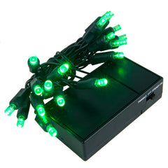 20 Green 5mm LED Battery Operated Lights with Green Wire