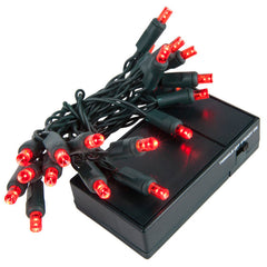 20 Red 5mm LED Battery Operated Lights with Green Wire