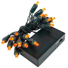 20 Amber 5mm LED Battery Operated Lights with Green Wire