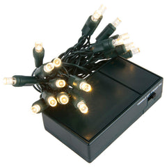 20 Warm White 5mm LED Battery Operated Lights with Green Wire