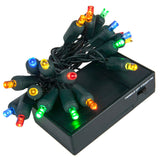 20 Multicolor 5mm LED Battery Operated Lights with Green Wire