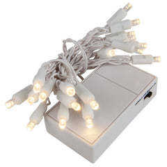 20 Warm White 5mm LED Battery Operated Lights with White Wire