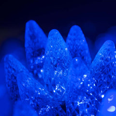 "70 Blue C6 LED Christmas Lights, Green Wire, 4"" Spacing"