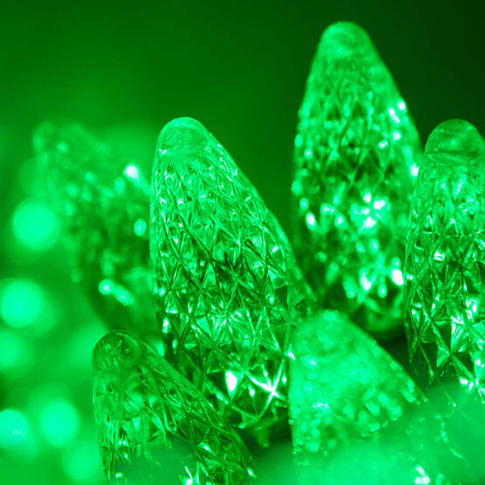 "70 Green C6 LED Christmas Lights, Green Wire, 4"" Spacing"