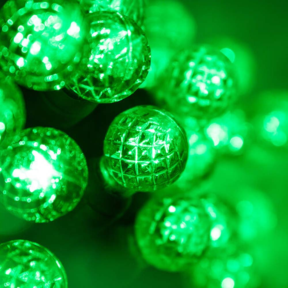 """70 Green G12 LED String Lights, Green Wire, 4"""" Spacing"""