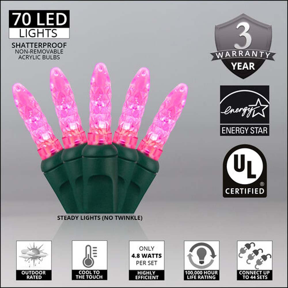 "70 Pink M5 LED Lights, Green Wire, 4"" Spacing"