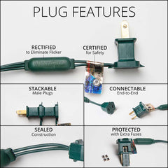 "70 Green 5mm LED Christmas Lights, Green Wire, 4"" Spacing"