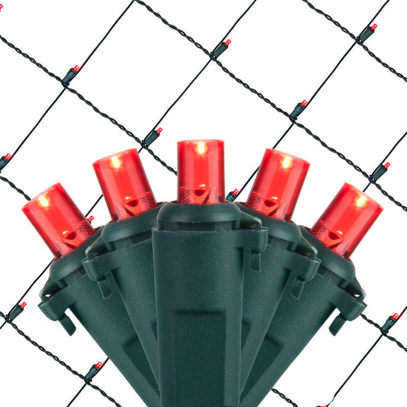 4x6 Ft. 5mm LED Net Lights - 100 Red Lamps on Green Wire