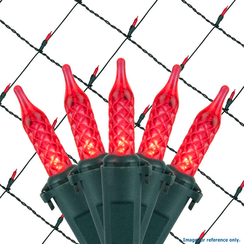 4x6 Ft. M5 LED Net Lights - 100 Red Lamps on Green Wire
