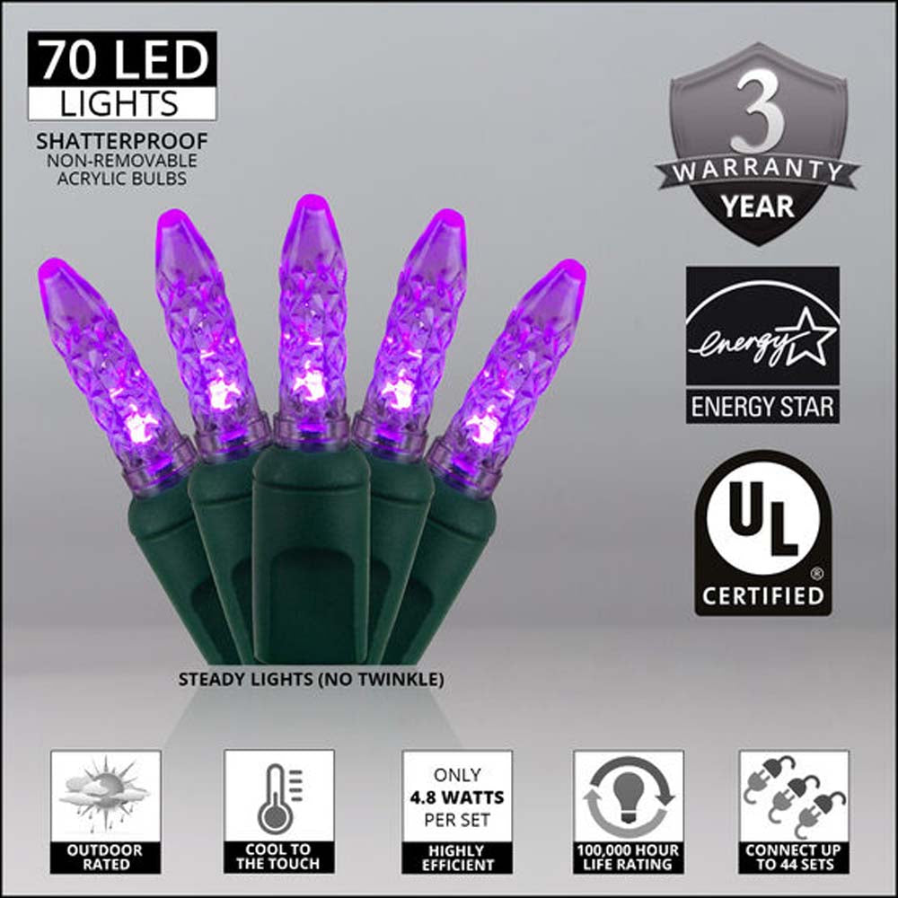 """70 Purple M5 LED Lights, Green Wire, 4"""" Spacing"""