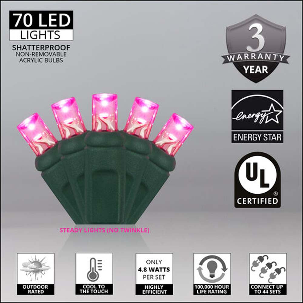 """70 Pink 5mm LED Christmas Lights, Green Wire, 4"""" Spacing"""