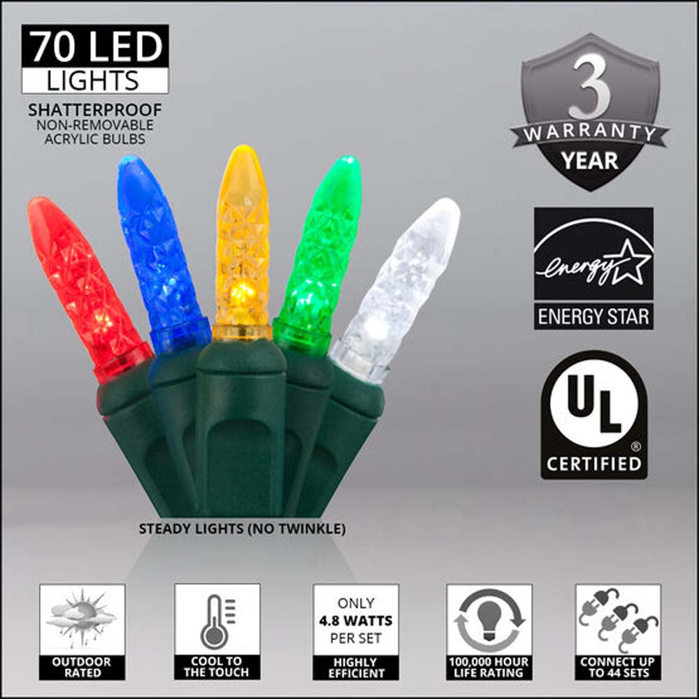 70 M5 LED Multicolor Lights red blue amber green cool white and Green Wire