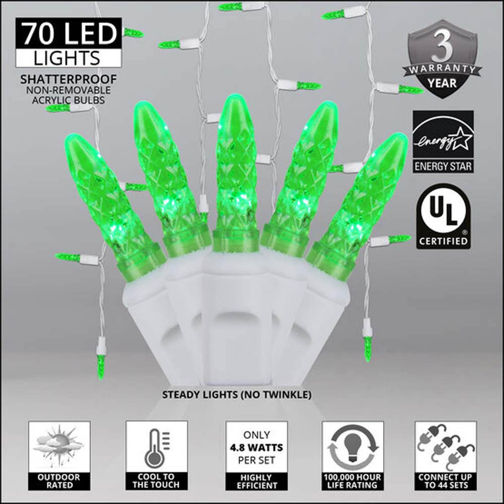 70 Green M5 LED Icicle Light Set with White Wire
