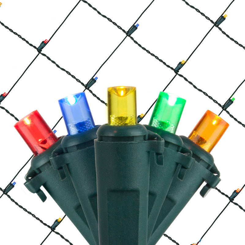 4x6 Ft. 5mm LED Net Lights - 100 Multicolor Lamps on Green Wire
