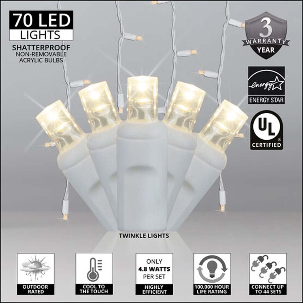 70 Warm White Twinkle 5mm LED Icicle Light Set with White Wire