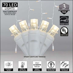 70 Warm White 5mm LED Icicle Light Set with White Wire