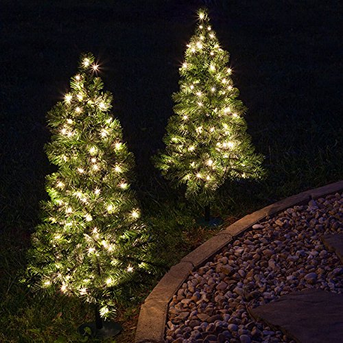 2 Trees - 3' Winchester Fir Walkway Tree, Warm White LED Lights