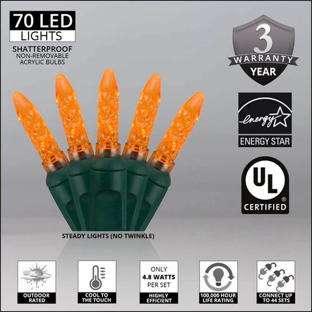 "70 Amber/Orange M5 LED Lights, Green Wire, 4"" Spacing"