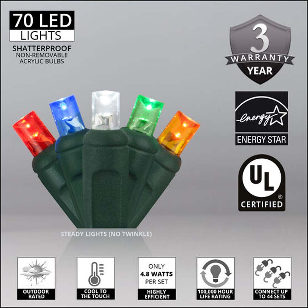 "70 Multicolor 5mm LED Christmas Lights, Green Wire, 4"" Spacing"