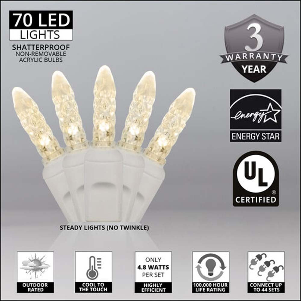 "70 Warm White M5 LED Lights, White Wire, 4"" Spacing"