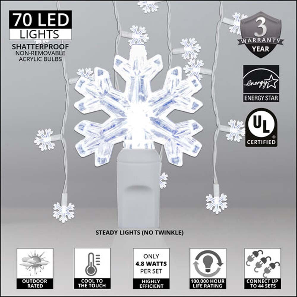 70 Cool White Snowflake LED Icicle Light Set with White Wire