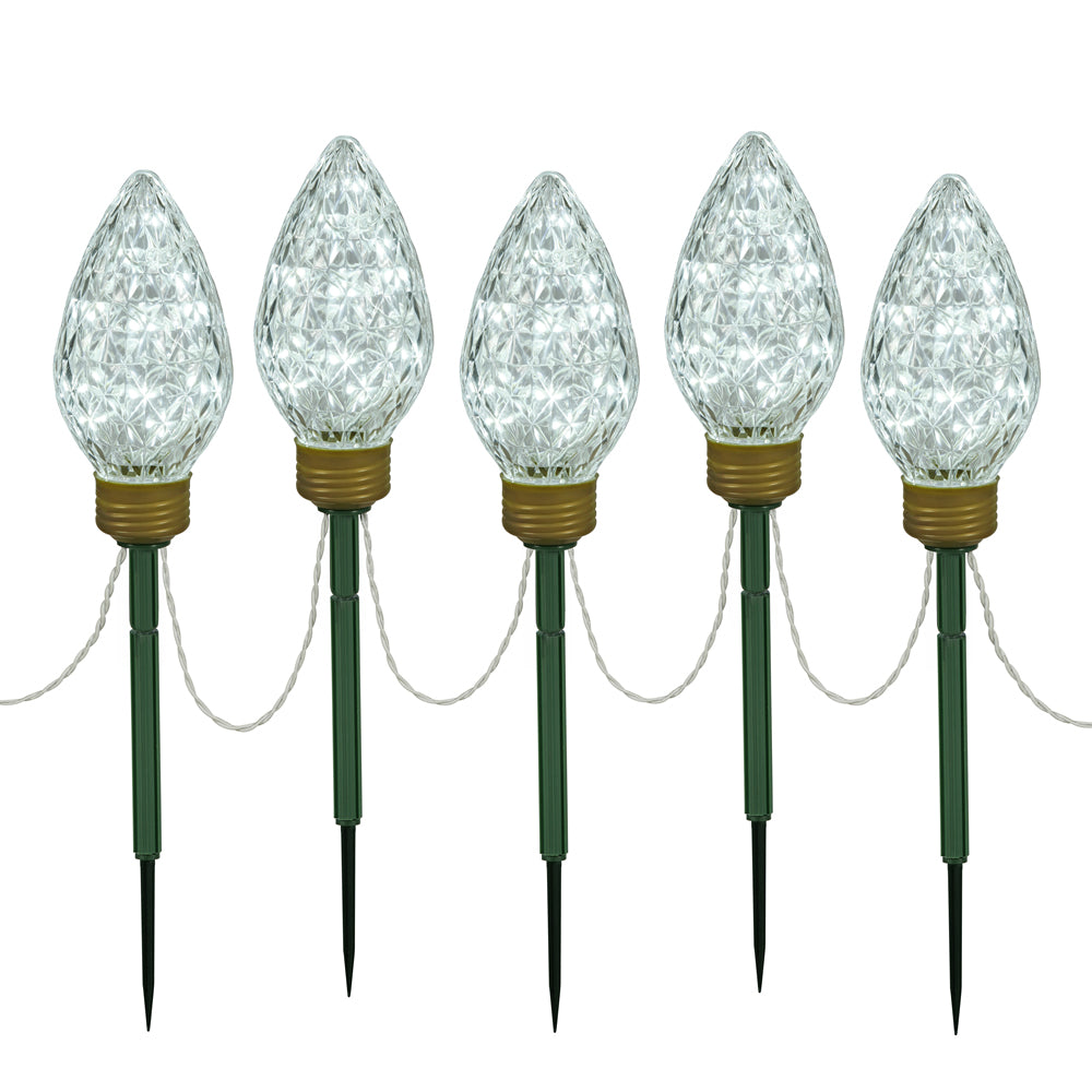 "100Lt x 8.5"" LED CoolWhtC9 5Pc Stake 24"""