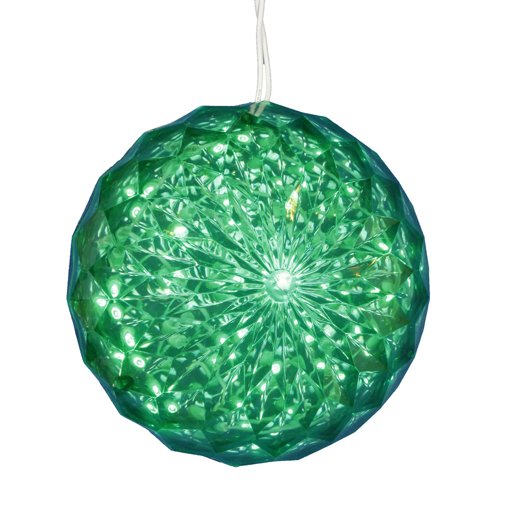 "30Lt x 6"" LED Green Crystal Ball Outdoor"