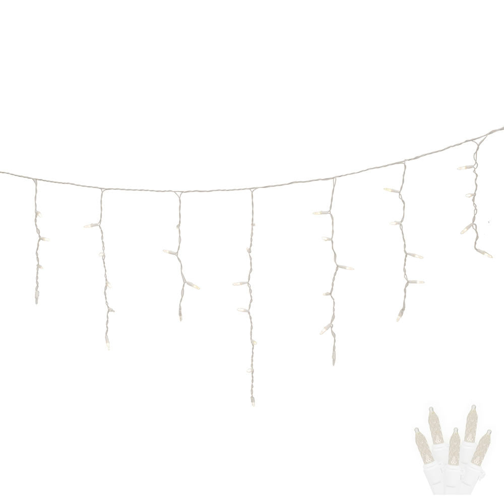 70 Warm White LED Lights / White Wire 9Ft. Twinkle Icicle Christmas Light Set