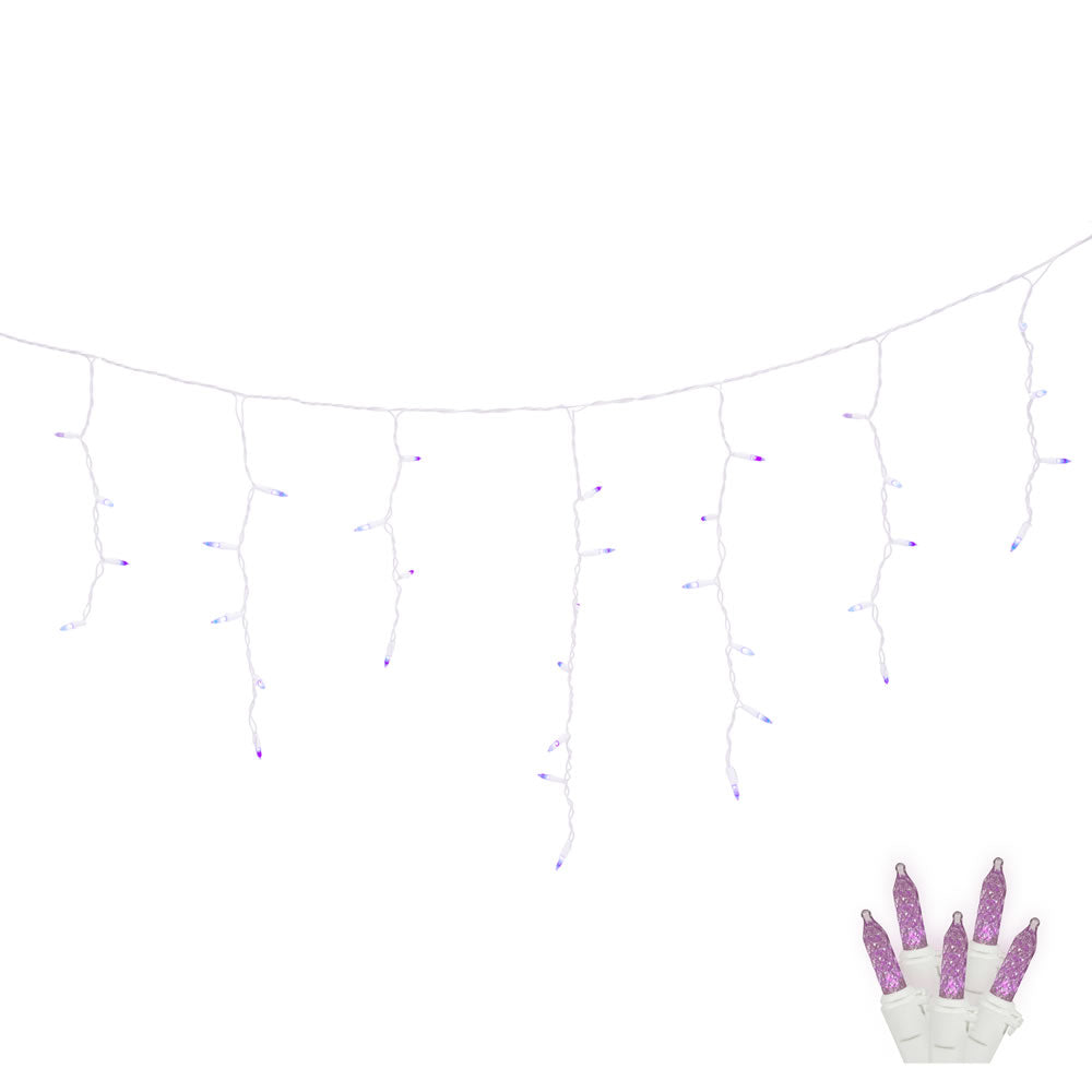 Commercial Grade Outdoor Icicle Lights: 70Lt Purple LED / White Wire M5 Twinkle Icicle 9'L