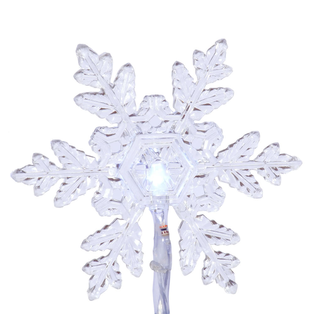 20 Pure White Snow flake LED Lights Christmas Set