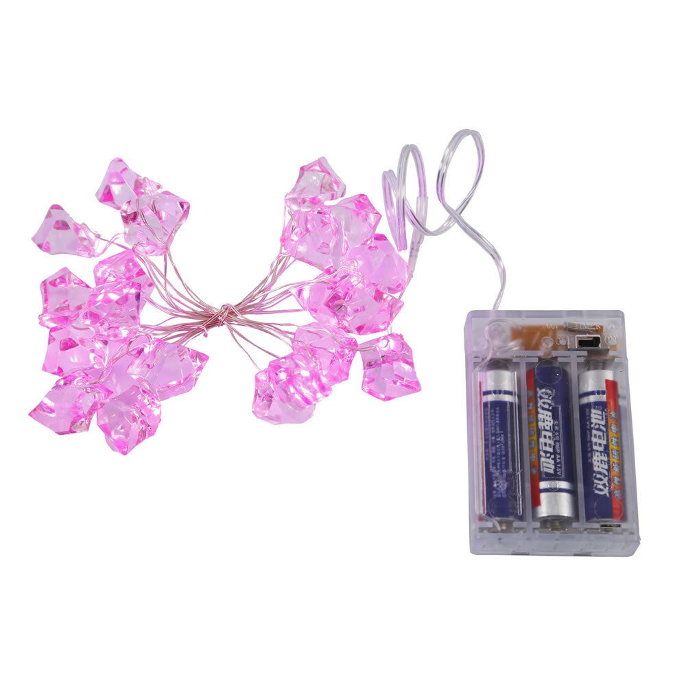 1PK - 12 inch LED String Pink Battery Operated Ice Cube 20Lt.Light Set w/ 6hr Timer