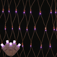 150 Purple Wide Angle Net LED Lights 2Ft. x8Ft. Brown Wire Christmas set