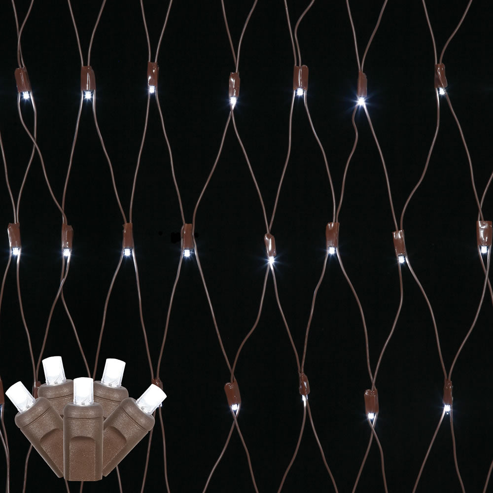 150 Pure White Wide Angle Net LED Lights 2Ft. x8Ft. Brown Wire Christmas set