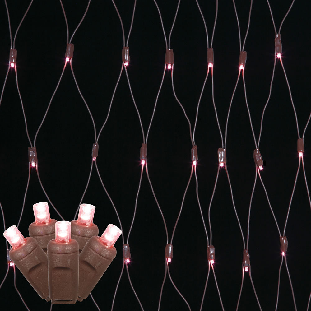 150 Pink Wide Angle Net LED Lights 2Ft. x8Ft. Brown Wire Christmas set
