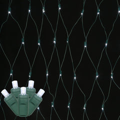 120 Cool White Wide Angle Net LED Lights 4Ft. x6Ft. Green Wire Christmas set