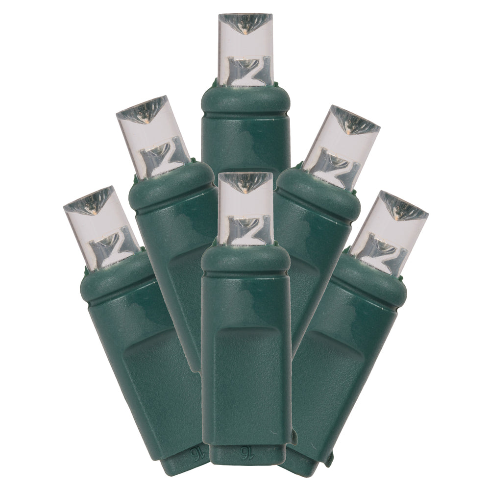 Vickerman 50Lt LED Warm White/Green Wire Wide Angle 4-in x 16 ft Long