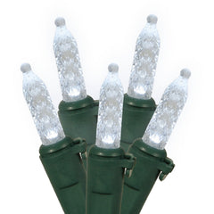 70 Pure White LED Lights / Green Wire 9Ft. Icicle Christmas Light Set